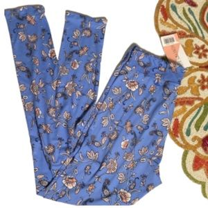 Honey and Lace Laguna Floral Paisley Blue Leggings